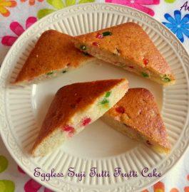 Eggless Suji Tutti Frutti Cake Recipe