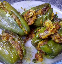 Bharwa Mirch - Potato Peas Stuffed Capsicum Recipe