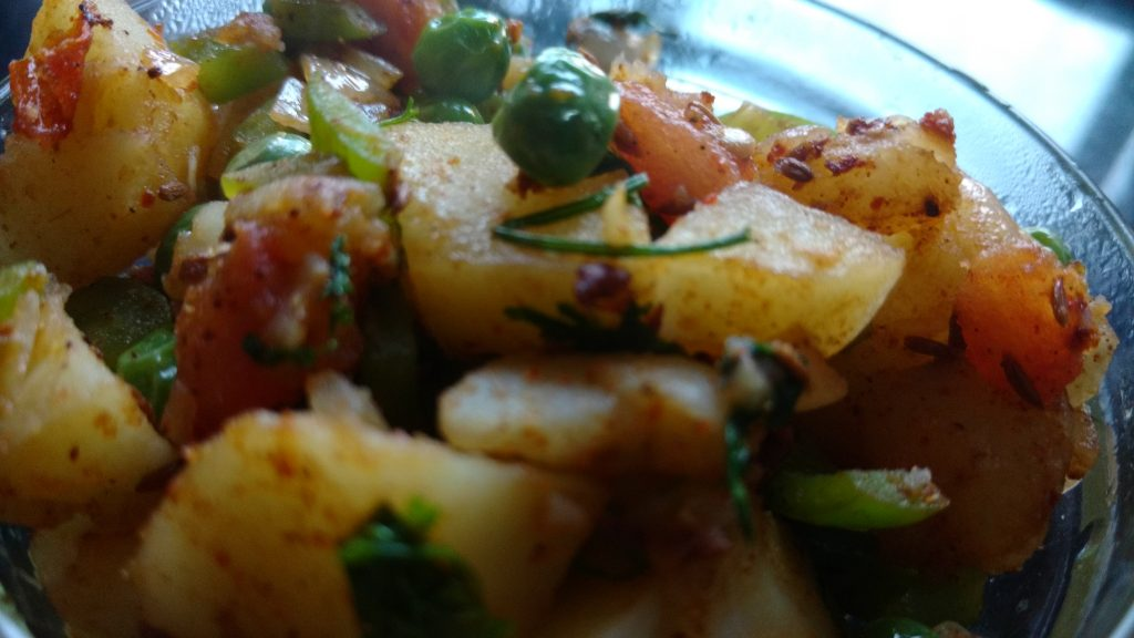 Capsicum Peas Aloo Sabji Recipe