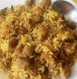 soya chunks fried rice