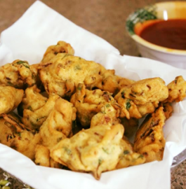 Sprouted Moong and Onion Fritters - Hot and Tasty