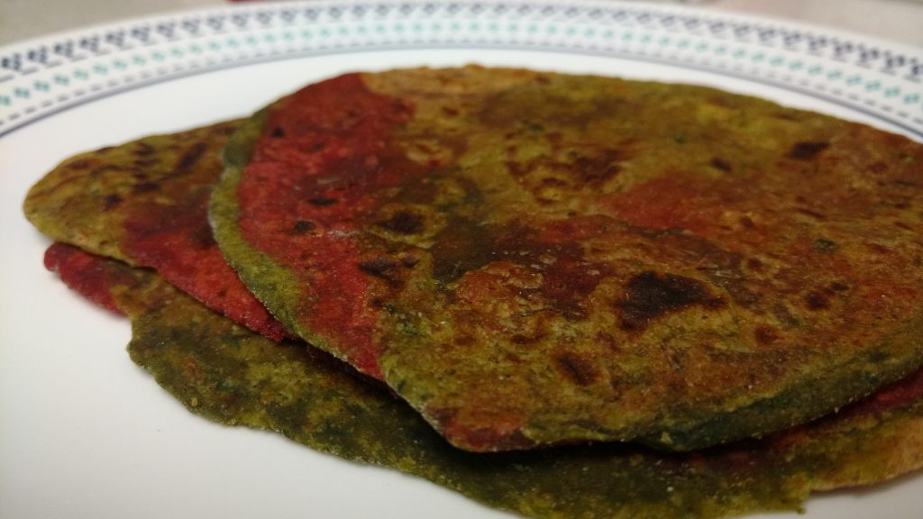 Beetroot and Spinach Parathas - Healthy Bite