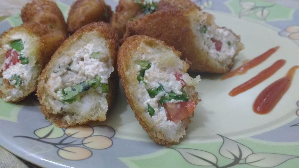 Hung Curd Bread Rolls - Tasty Snack