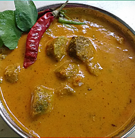 Green Gram Spinach K Gatte - Spicy Curry