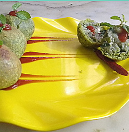 Green Gram & Spinach Stuffed Ball - Tasty starter