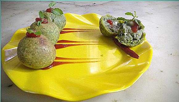 Green Gram & Spinach Stuffed Ball - Tasty starter