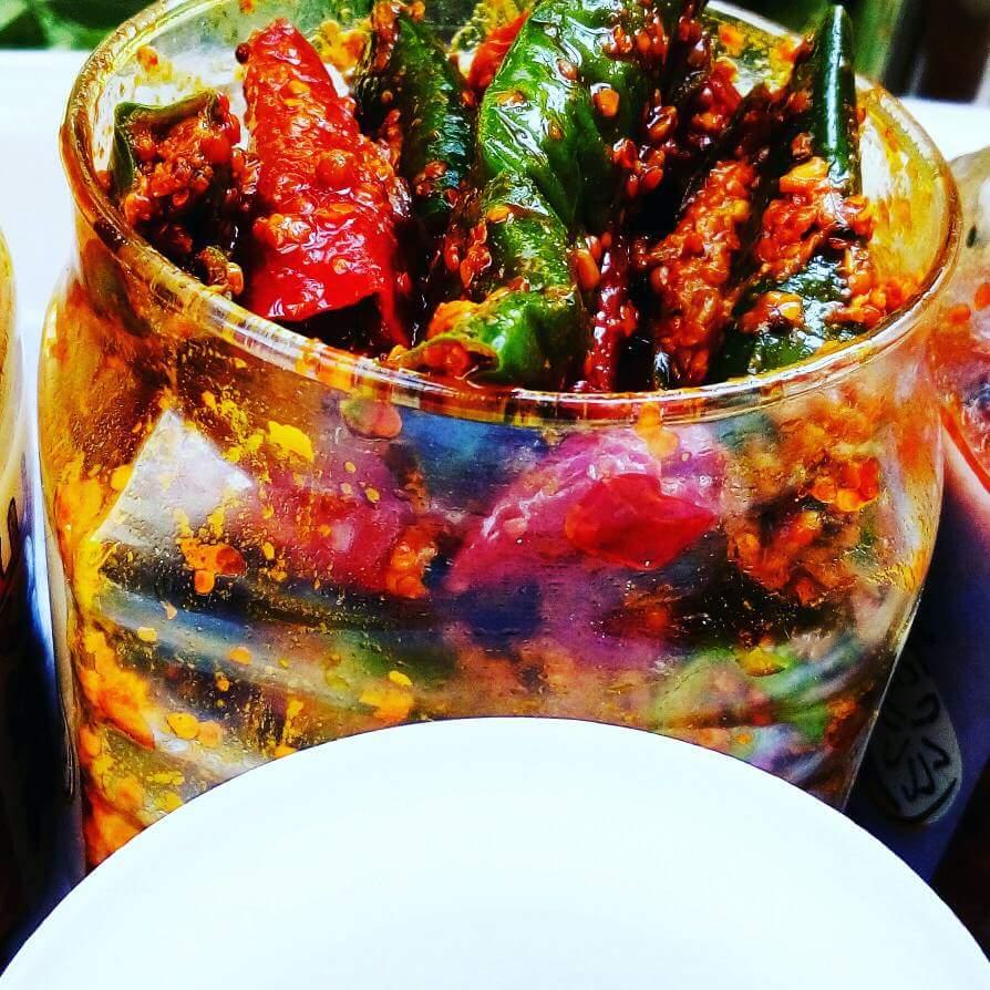 Red Green Chilli Pickle - 5 Minute Recipe