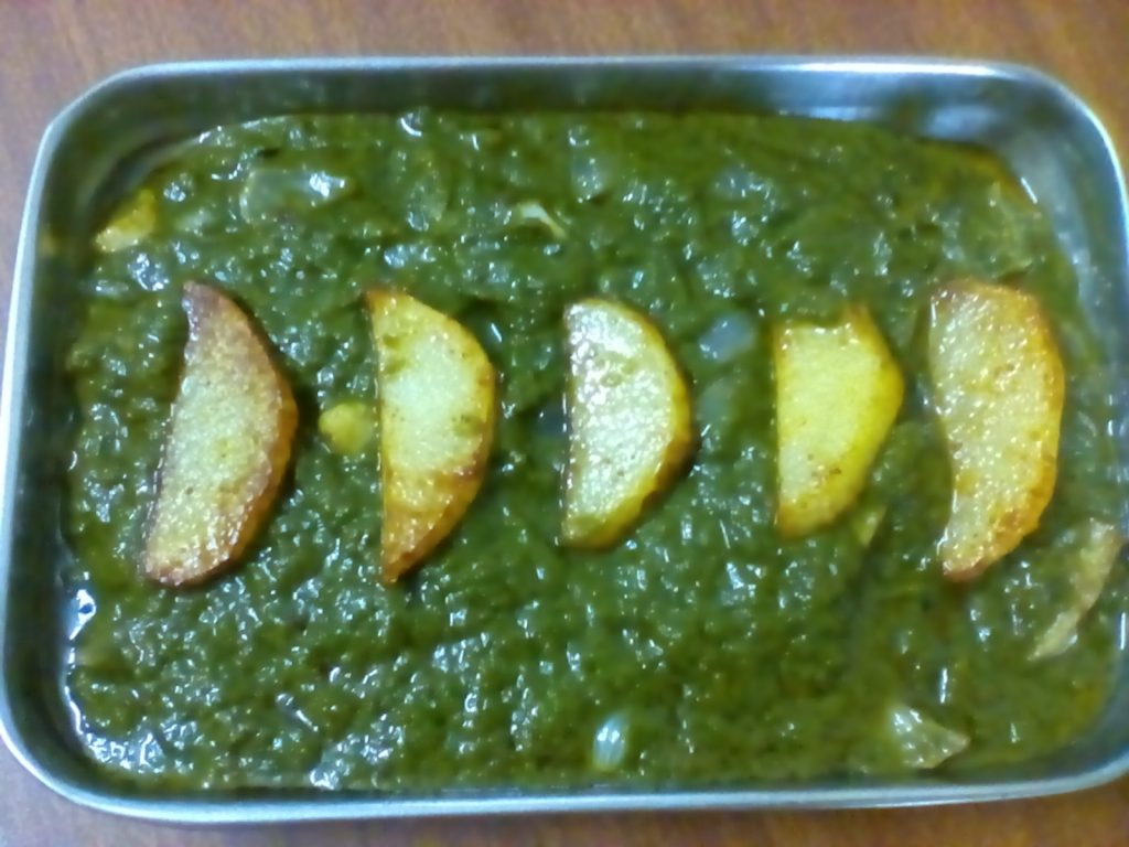 Spinach And Fried Potatoes Curry Recipe