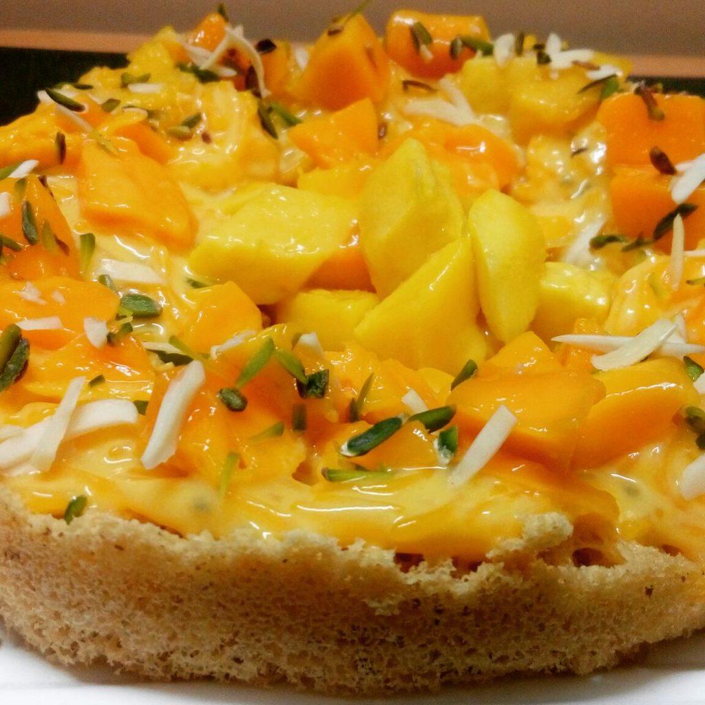 Ghevar With Mango Faluda Rabri Recipe