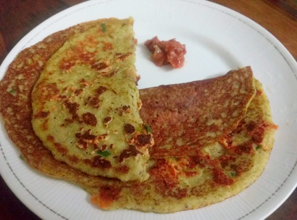 Moong Dal Uttapam With Paneer Topping Recipe