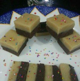 Two Layered Chocolate Barfi Recipe