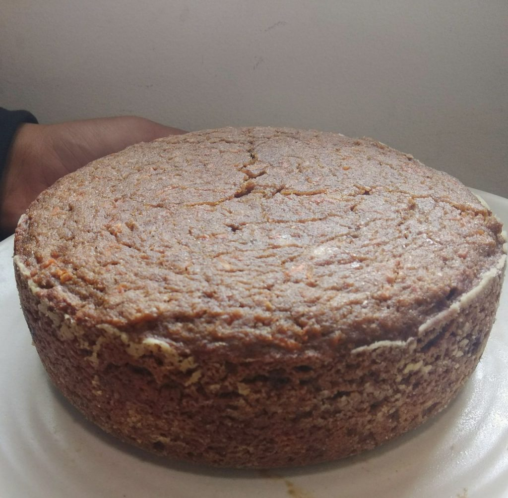 Whole Wheat Eggless Carrot Cake In Pressure Cooker