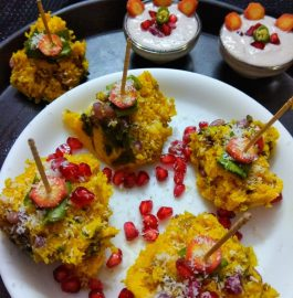 Spinach Pomegranate Dhokla Recipe