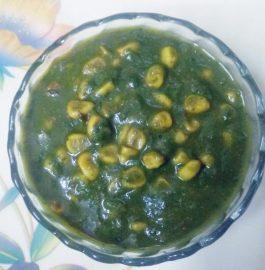 Corn In Spinach Gravy Recipe