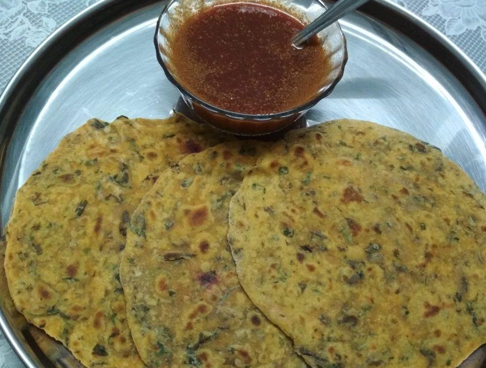 Methi Makki ka Paratha and Vegetable Soup Recipe