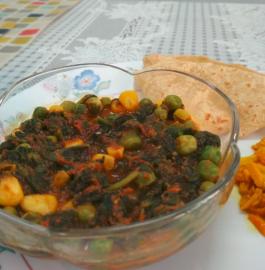Palak Matar Corn Sabzi Recipe