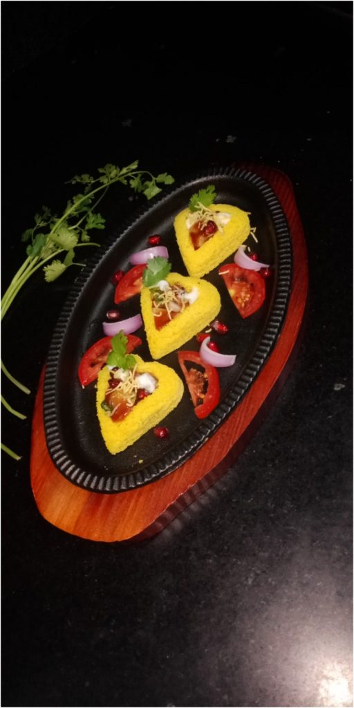 Dhokla Hearts With Potato Chaat Recipe