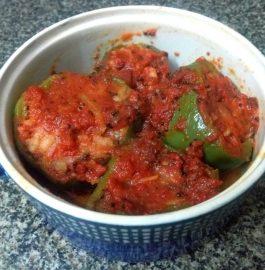 Stuffed Capsicum In Tomato Gravy Recipe