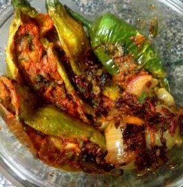 Stuffed Karela, Green Chilli And Onion Recipe