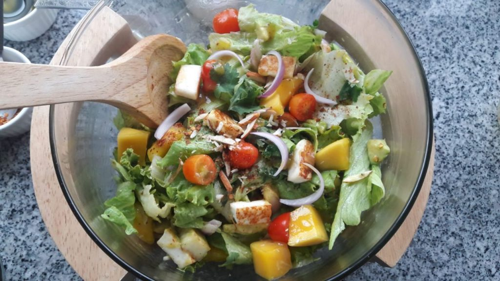 Grilled Paneer Mango Avocado Salad Recipe