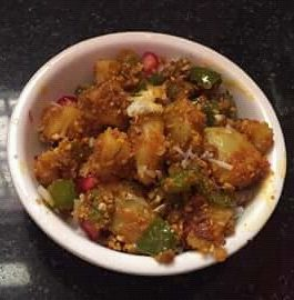 Capsicum Aloo Sabzi With Peanuts And Besan Recipe