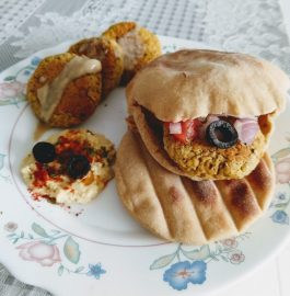 Hummus, Falafel With Pita Bread And Tahini Sauce Recipe