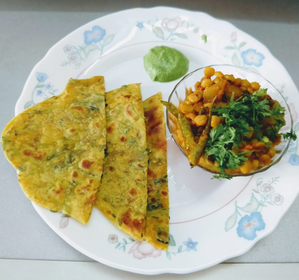 Methi Paratha With Chana dal and Lauki Sabji Recipe