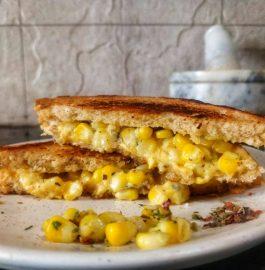 Corn Cheese Sandwich | Grilled Corn Cheese Sandwich Recipe