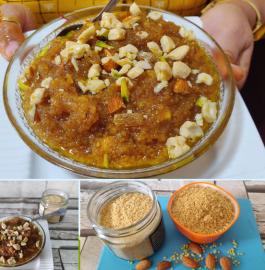 Moong Dal Badam Halwa | Dal Badam Halwa Recipe