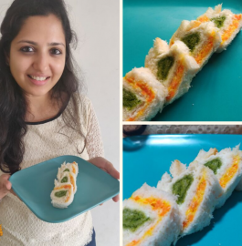 Pinwheel Sandwich | Tricolour Sandwich Recipe