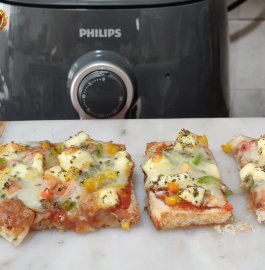 Bread Paneer Pizza | Paneer Pizza in Air Fryer Recipe