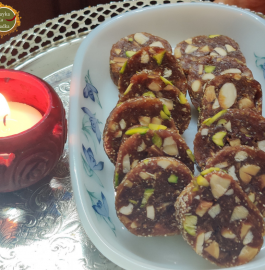 Khajur Roll | Dates Roll | Khajur Dry Fruit Burfi Recipe