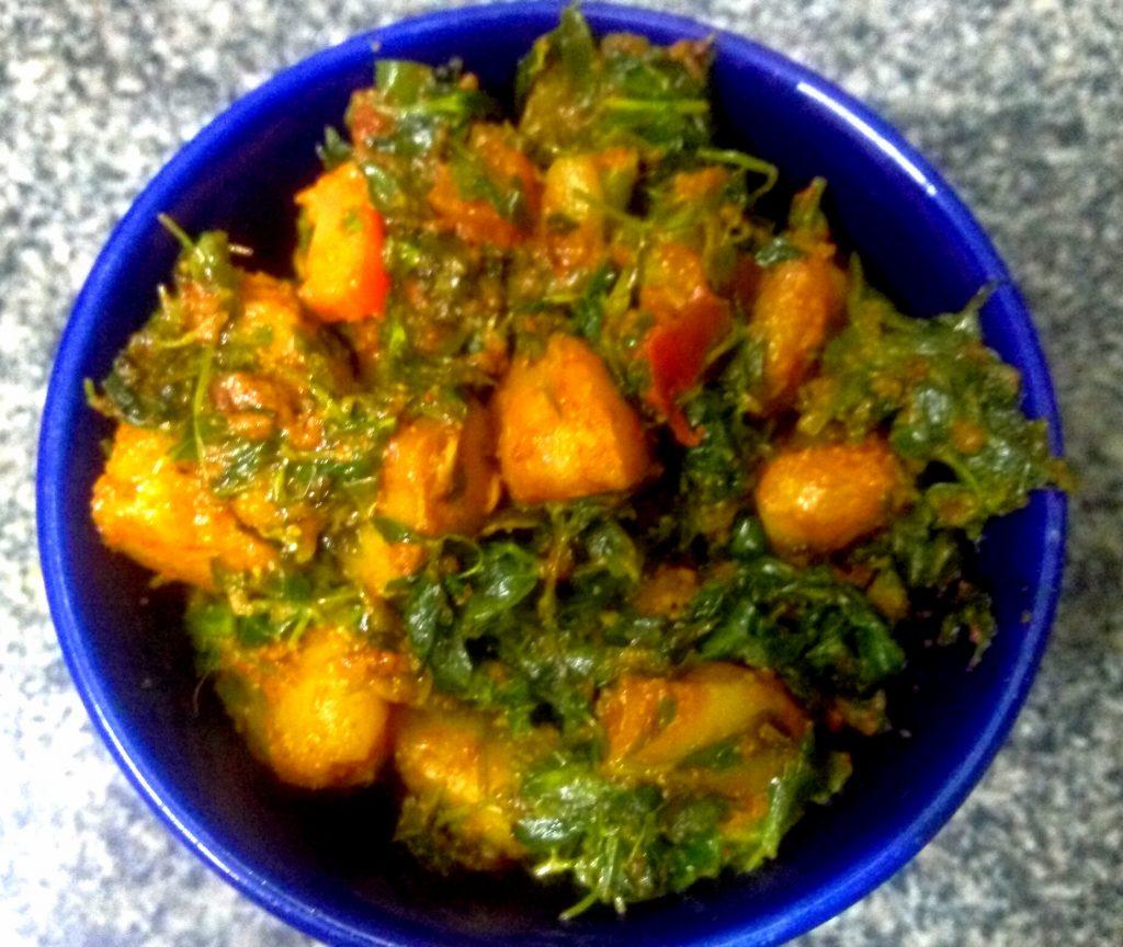 Singhara Methi Saag Recipe