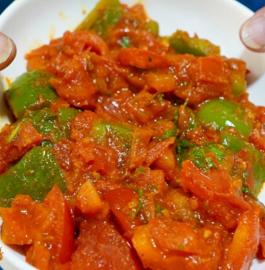 Tamatar Shimla Mirch Sabzi | Tomato Capsicum Sabzi Recipe