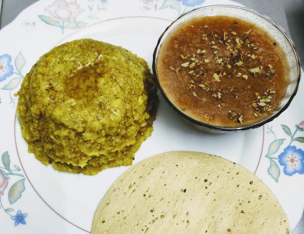Quinoa Moong Dal khichadi With Vegetable Soup Recipe