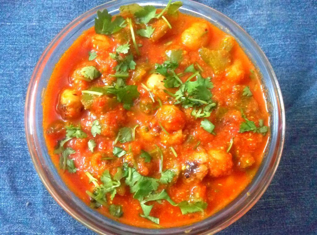 Capsicum Foxnut / Makhana Curry recipe