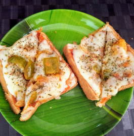 Bread Pizza On Tava Recipe