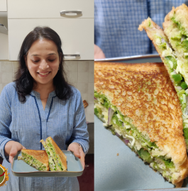 Three Layered Sandwich | Veg Cheese Sandwich Recipe