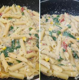 White Sauce Creamy Veg Pasta | Creamy Veggie Pasta Recipe