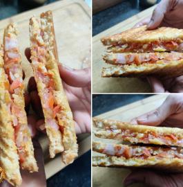 Tomato Onion Grilled Sandwich Recipe