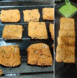 Aloo Suji Squares | Baked Potato Squares Recipe