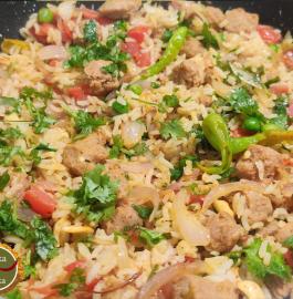Soya Vadi Pulav | Soya Chunks Pulav Recipe